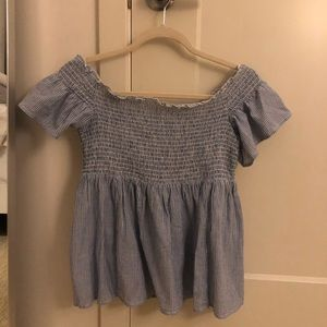 American Eagle off the shoulder blue top size m